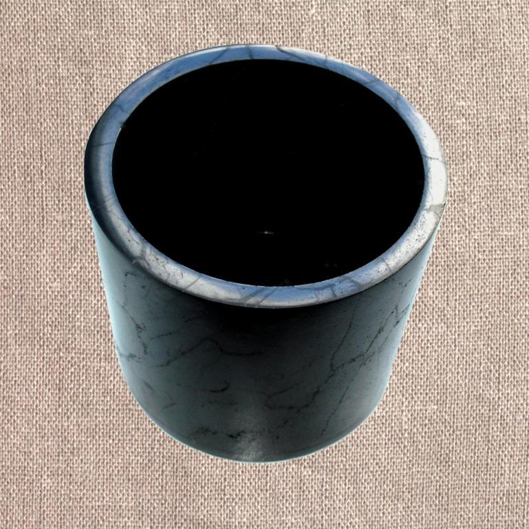 Shungite polished flower pot