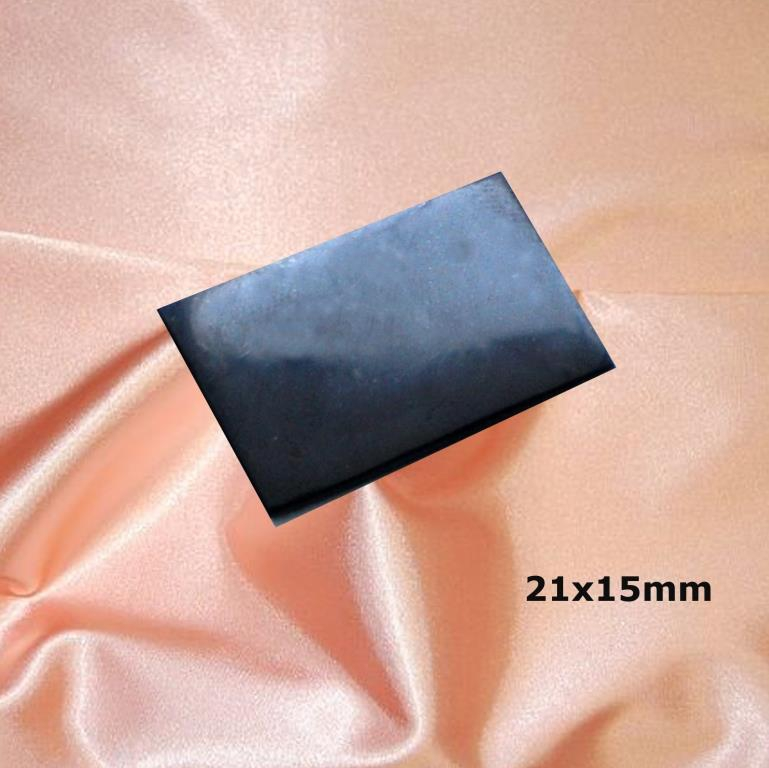 Shungite polished plate for cell phone (rectangular) 21x15mm
