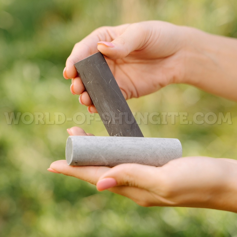 Unpolished cylinders (shungite and steatite)