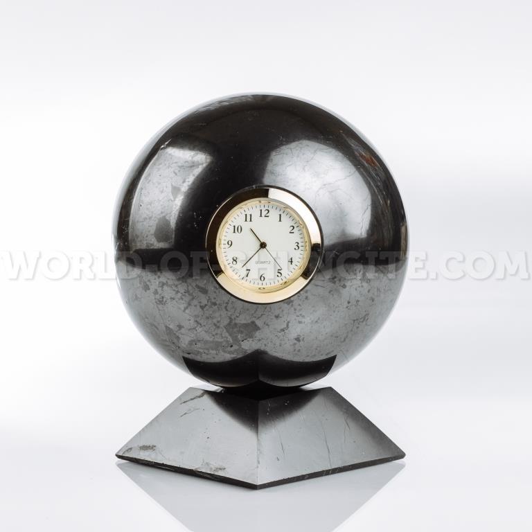 Shungite sphere with clock