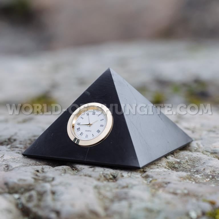 Shungite polished pyramid with clock