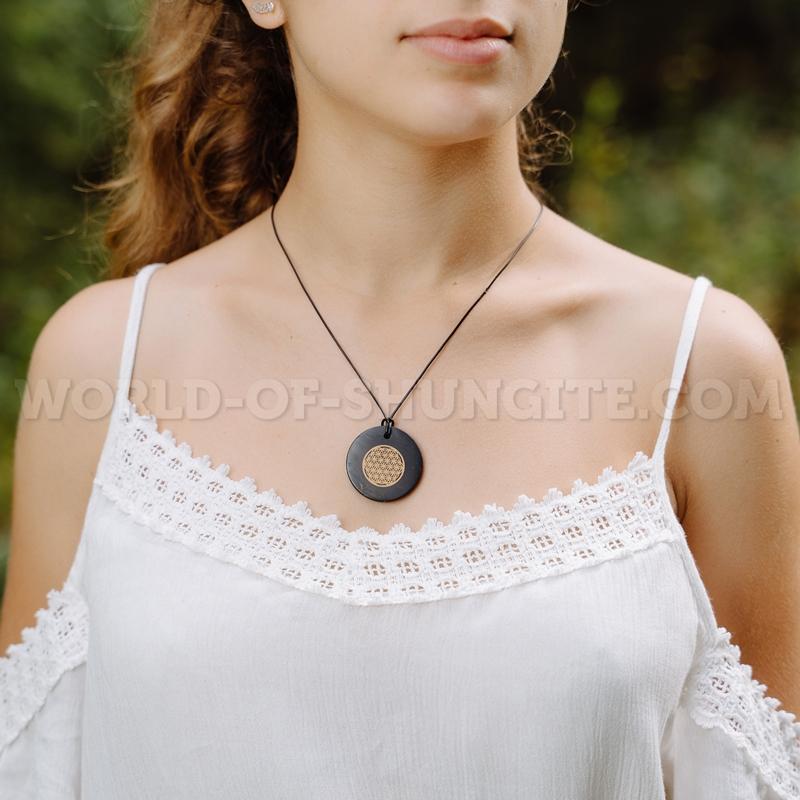 "Shungite pendant ""Flower of life"" (circle)"