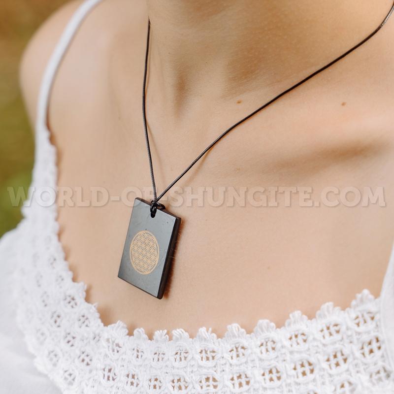 """Shungite pendant """"Flower of life"""" (rectangular)"""