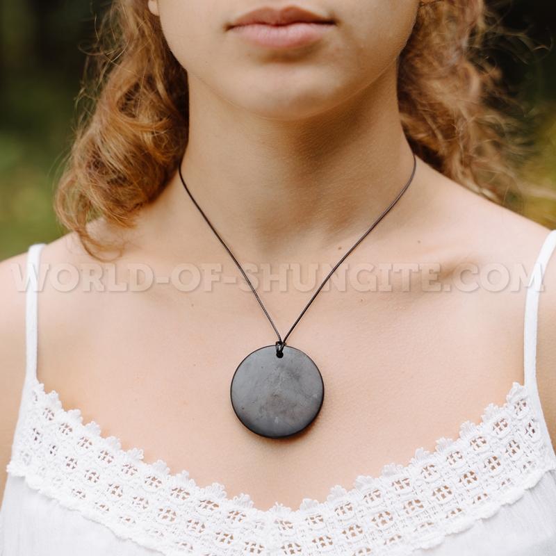 """Shungite pendant """"Huge circle"""""""