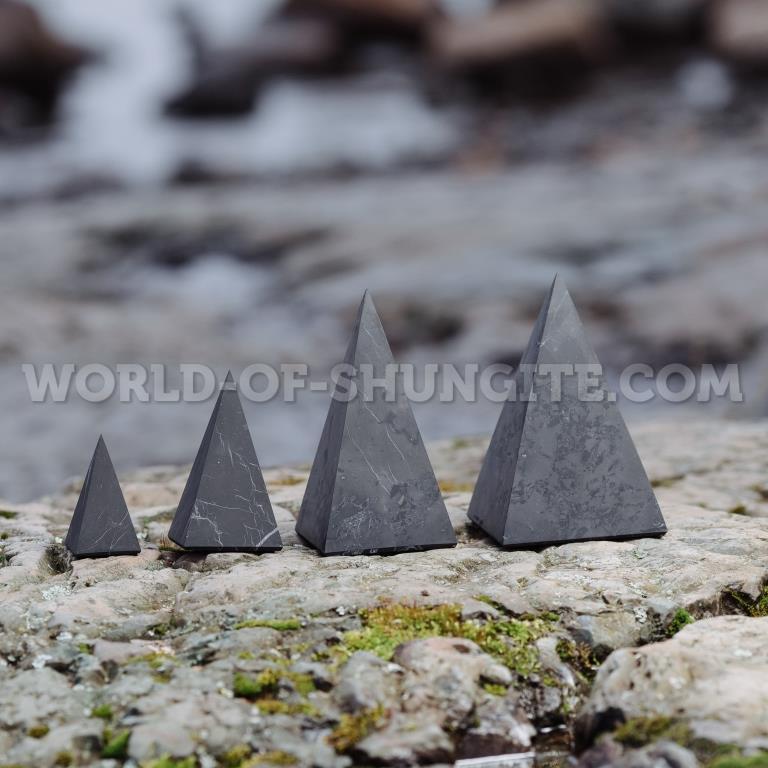 Shungite unpolished high pyramid 3 cm