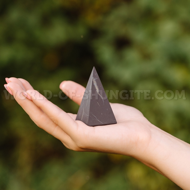 Shungite unpolished high pyramid 4 cm