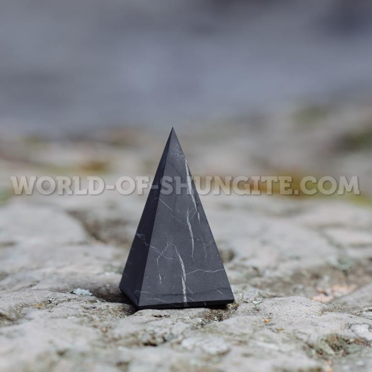 Shungite unpolished high pyramid 5 cm