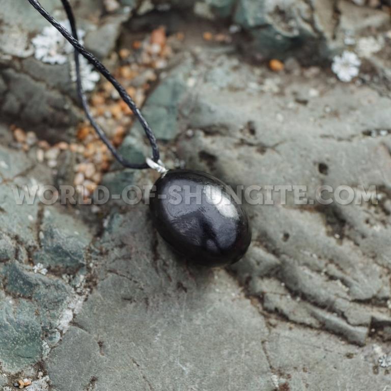 """Shungite pendant """"Rounded pellet """""""