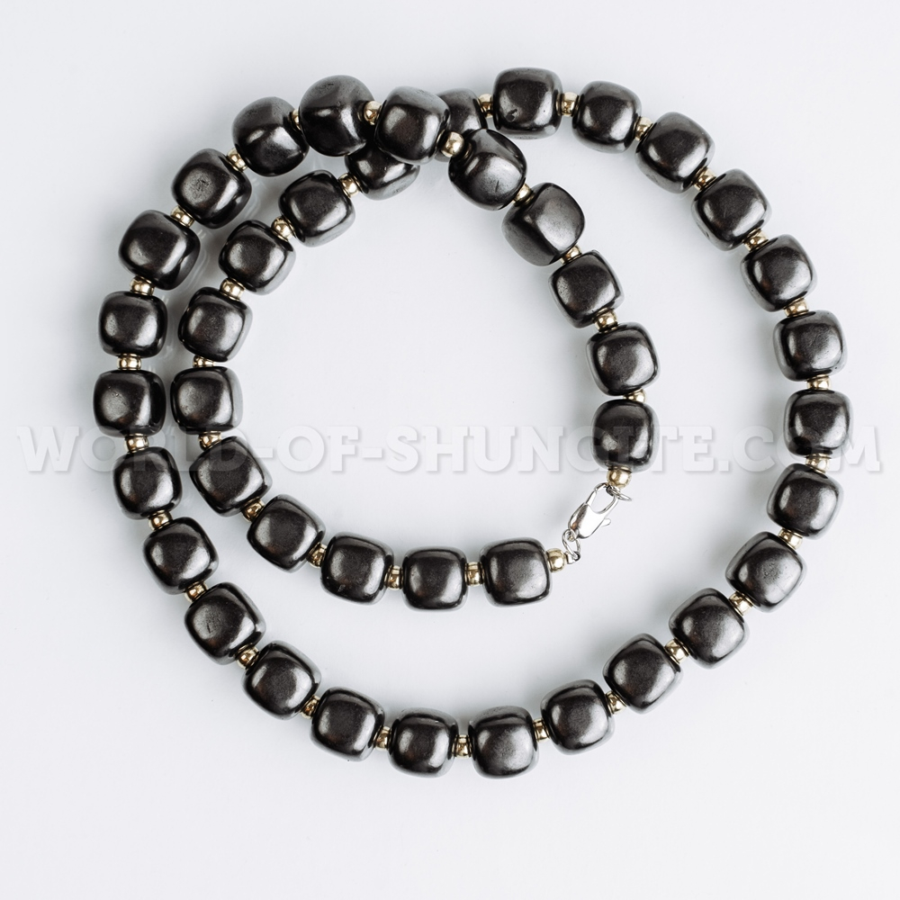 """Shungite necklace """"Pellet cubes"""" with goldish glass beads"""