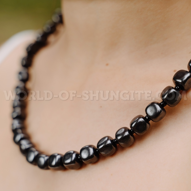 """Shungite necklace """"Pellet cubes"""" with black glass beads"""