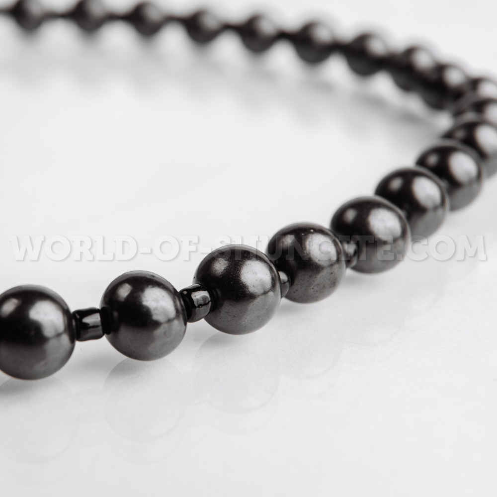 Shungite necklace with black glass beads