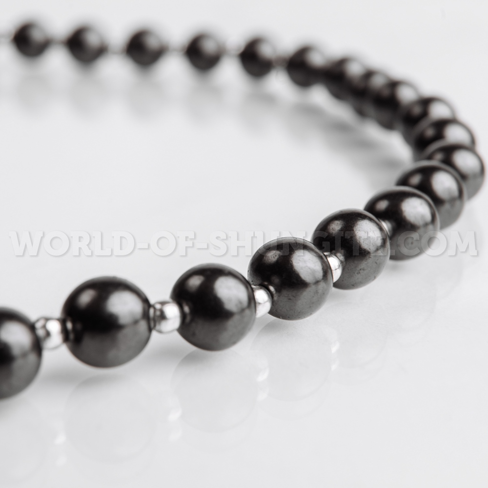 Shungite necklace with silvery glass beads