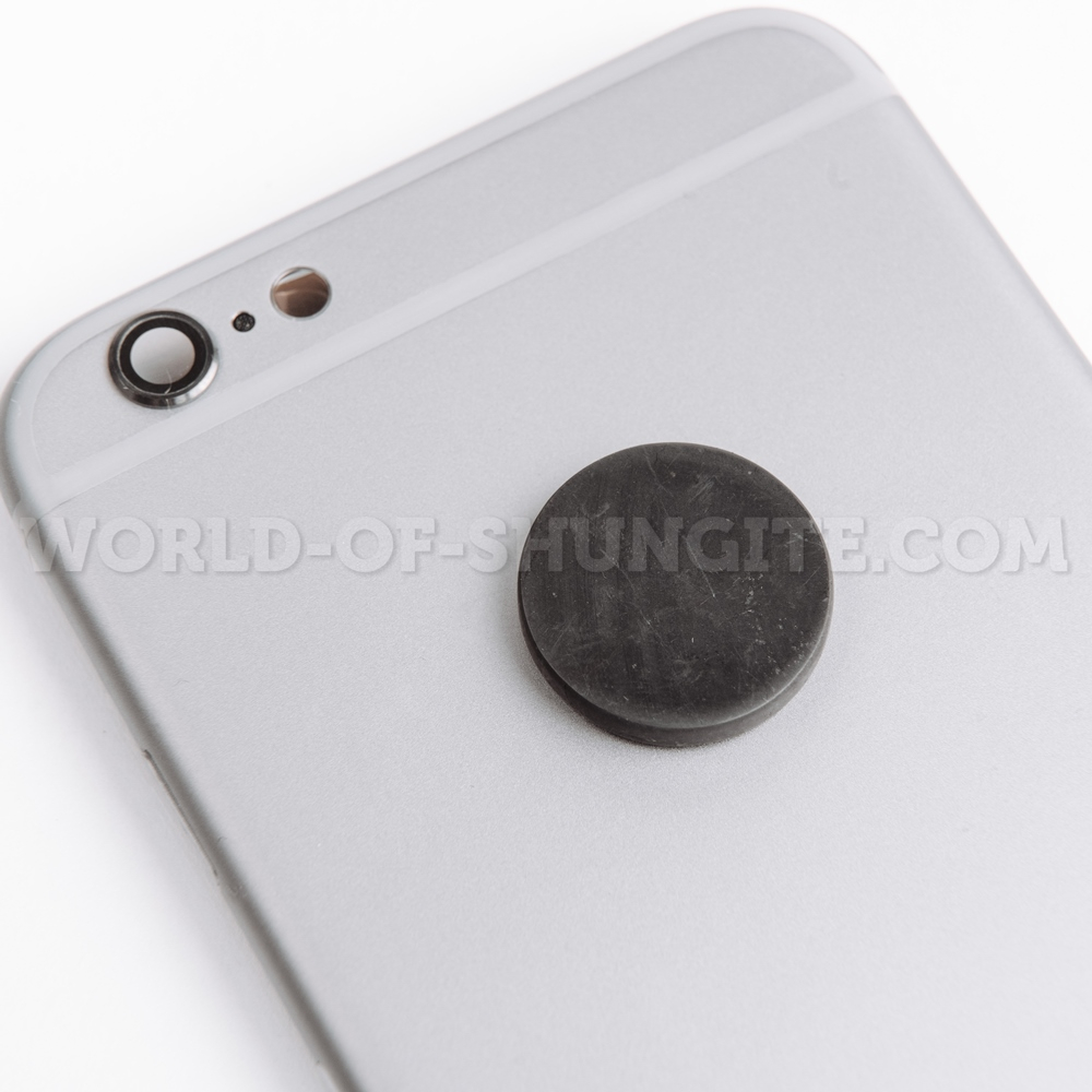Shungite polished round plate for cell phone 19mm