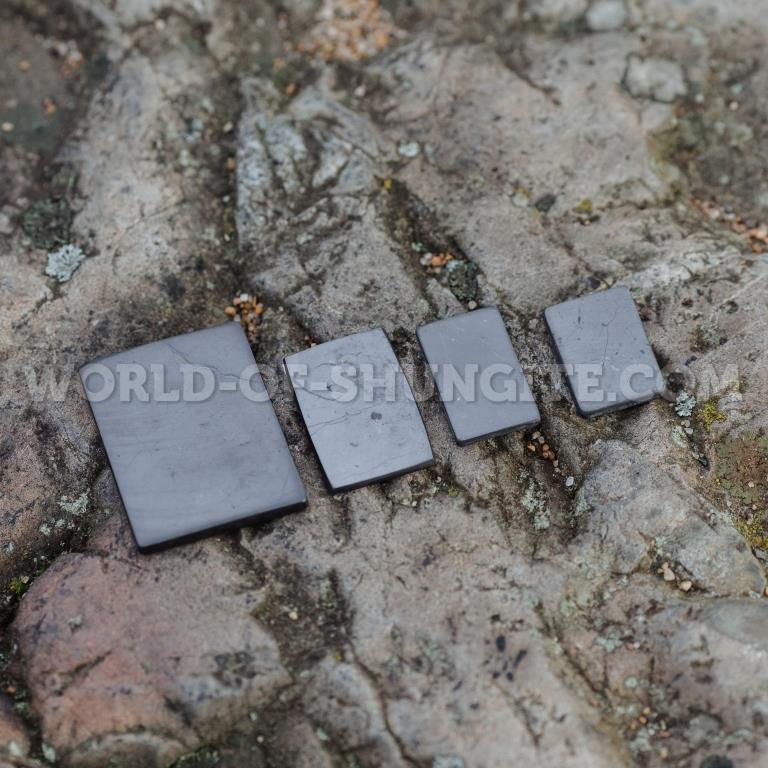 Shungite polished plaque for cell phone (rectangular) 25x15mm