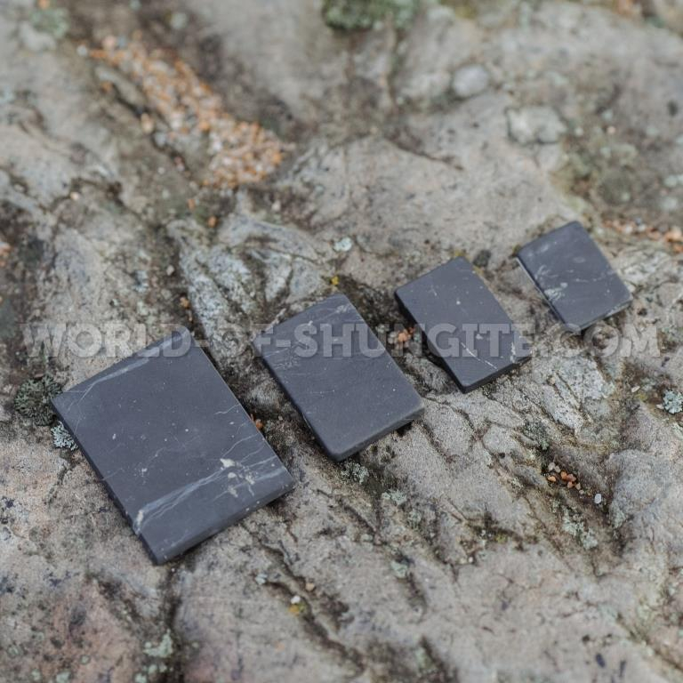 Shungite unpolished plaque for cell phone (rectangular) 21x15mm