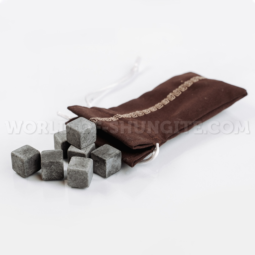 Set of unpolished cubes (pellets) for whiskey from steatite (in bag)