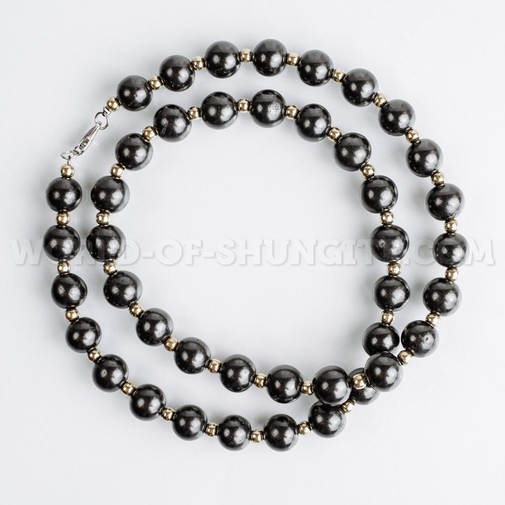 Shungite necklace with goldish glass beads