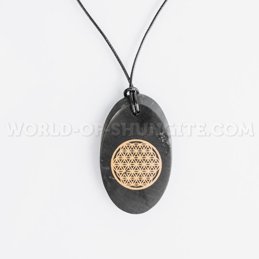 """Shungite pendant """"Flower of life"""" (oval)"""