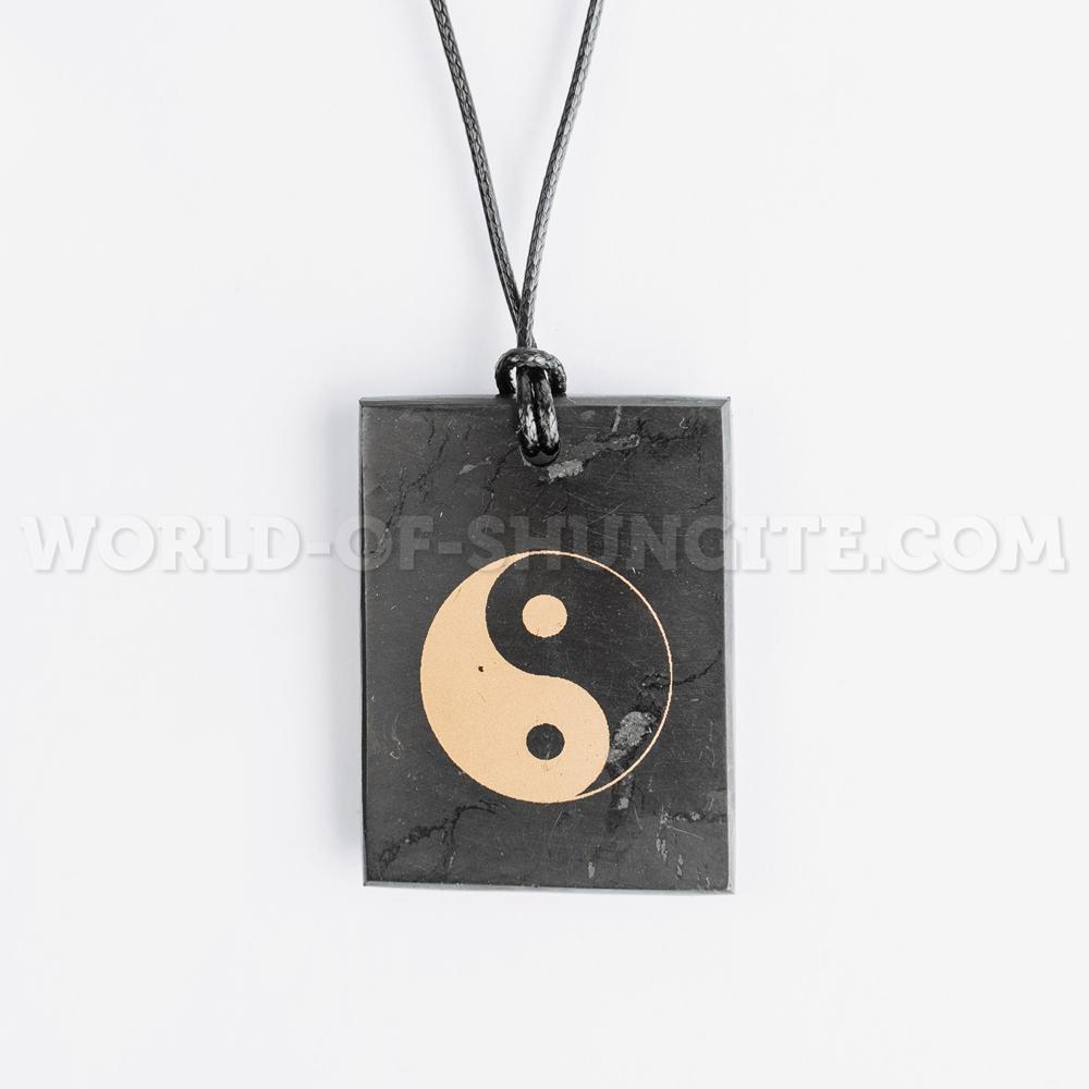 "Shungite pendant ""Yin and yang"" (rectangular)"