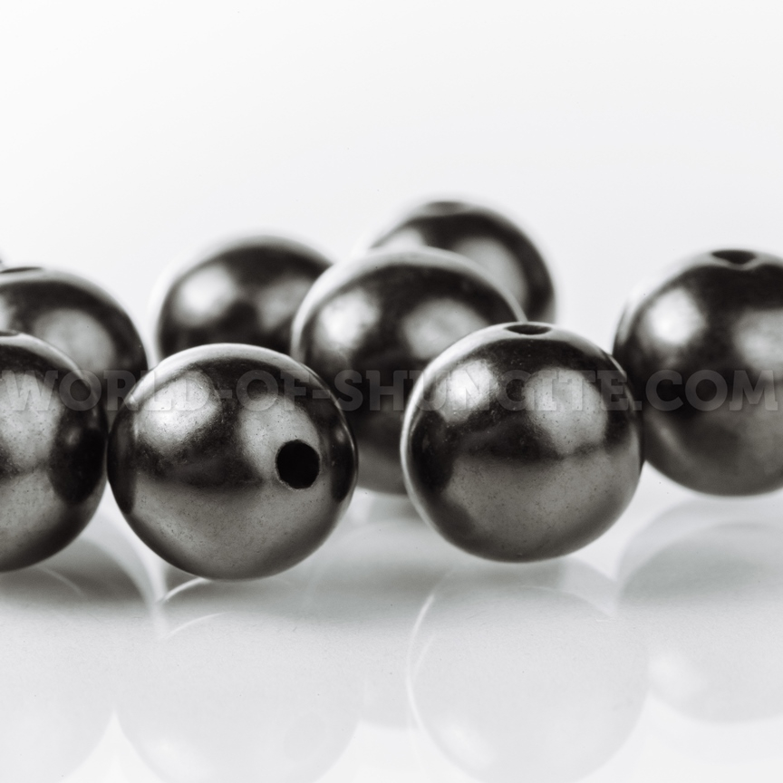 Shungite placer of beads 10mm (polished beads with holes)