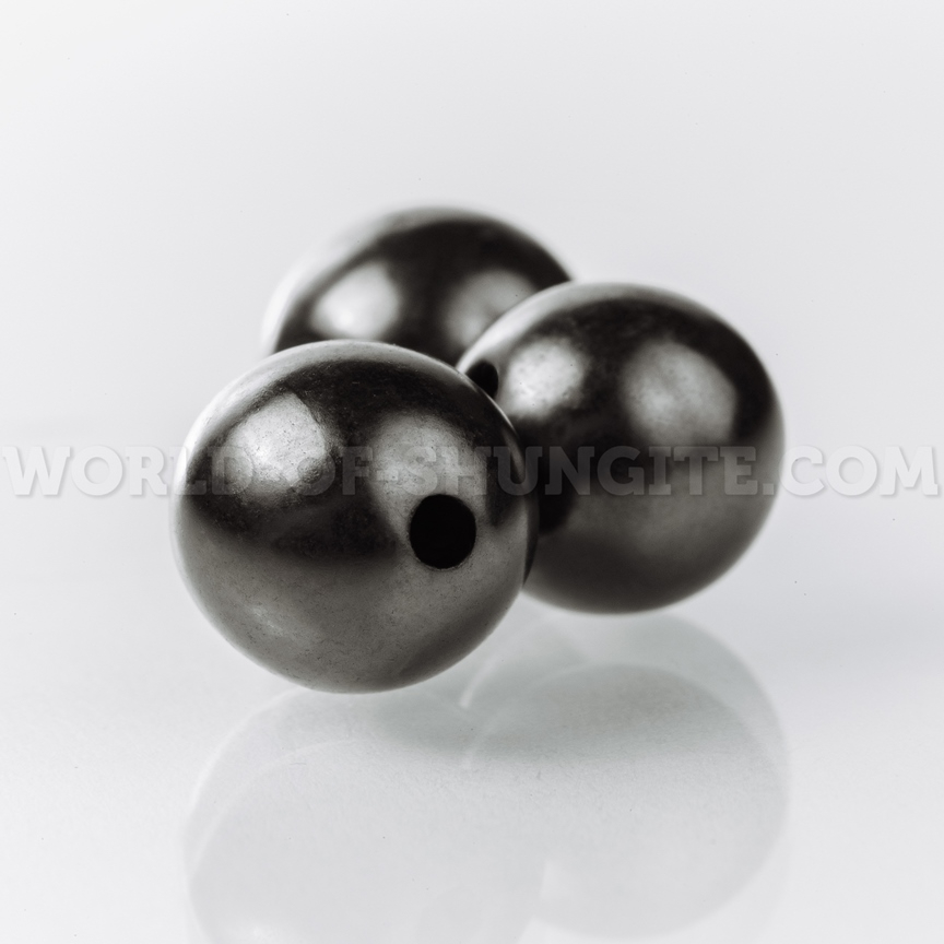 Shungite placer of beads 12mm (polished beads with holes)
