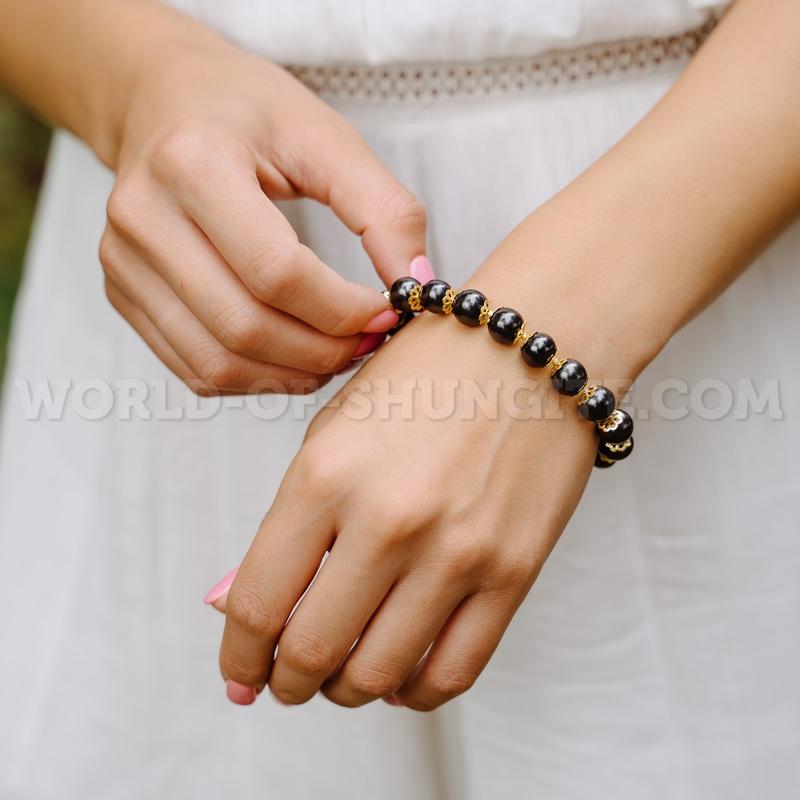 Shungite stretchy bracelet with goldish roses