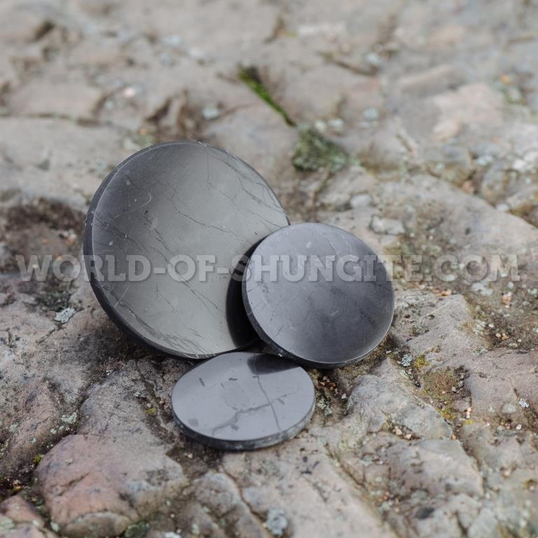 Shungite polished plaque 70mm
