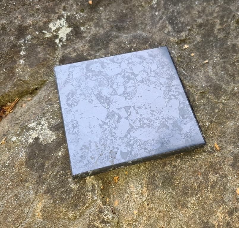 Shungite polished tile 10x10cm